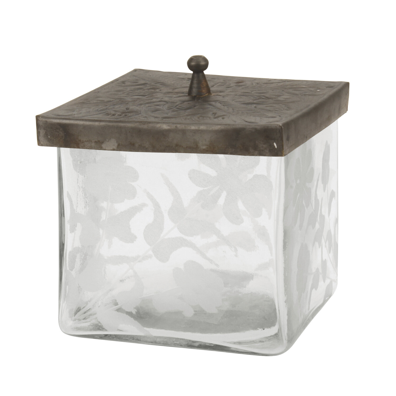 Charlton Home Etched Square Glass Container With Pewter Lid Decorative Jar  U0026 Reviews   Wayfair