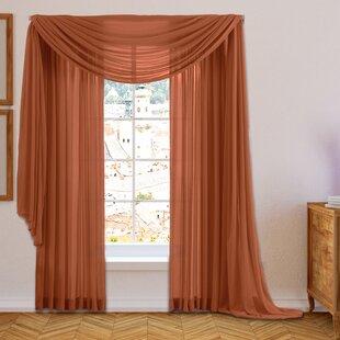 Brushgrove Solid Sheer Rod Pocket Window Curtain Panels Set Of 2