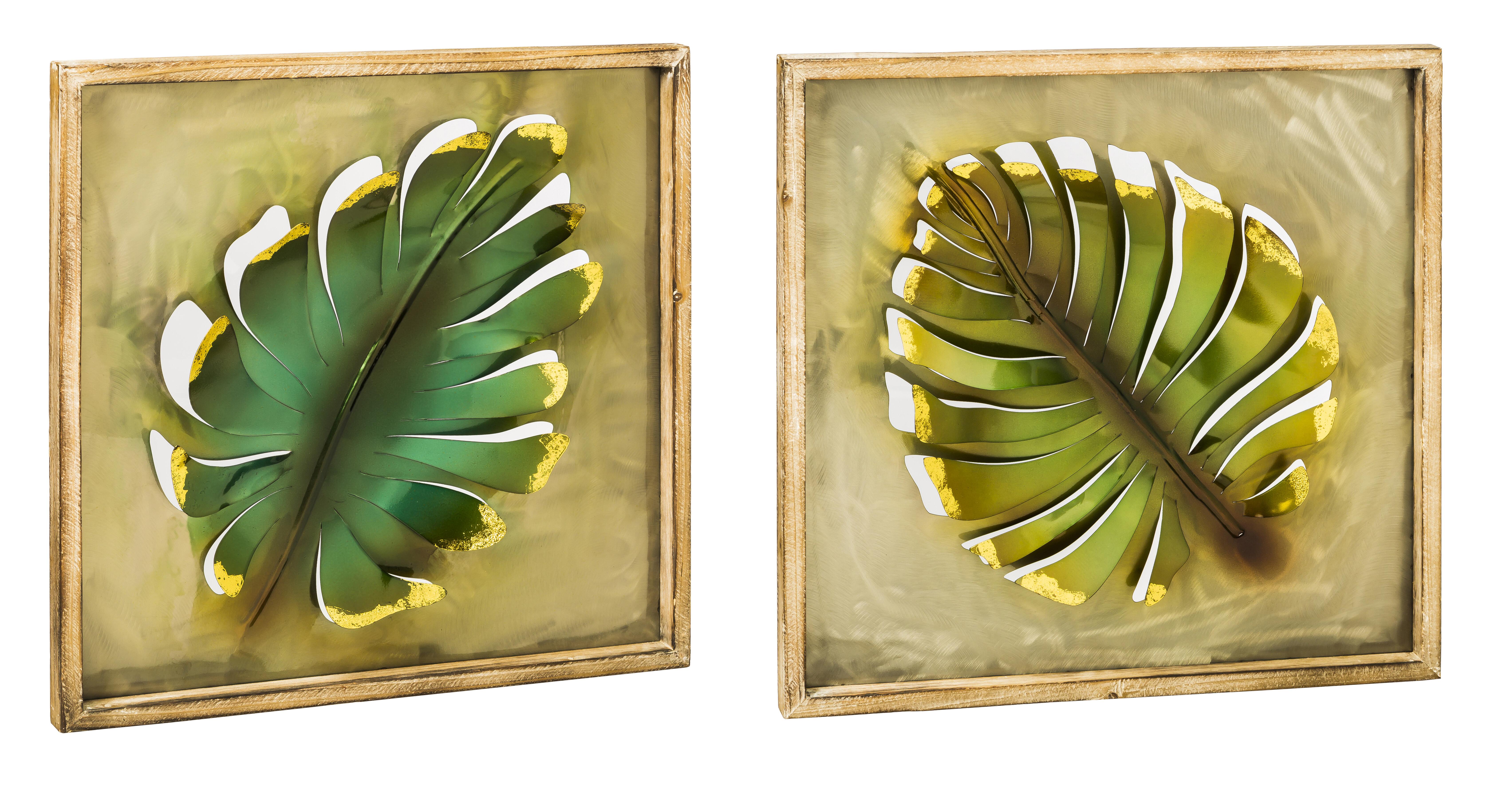 Bayou Breeze 2 Piece Metal and Wood Leaves Wall Décor Set   Wayfair.ca