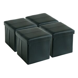 Latitude Run Fischer Square Folding Storage Ottoman (Set of 4)
