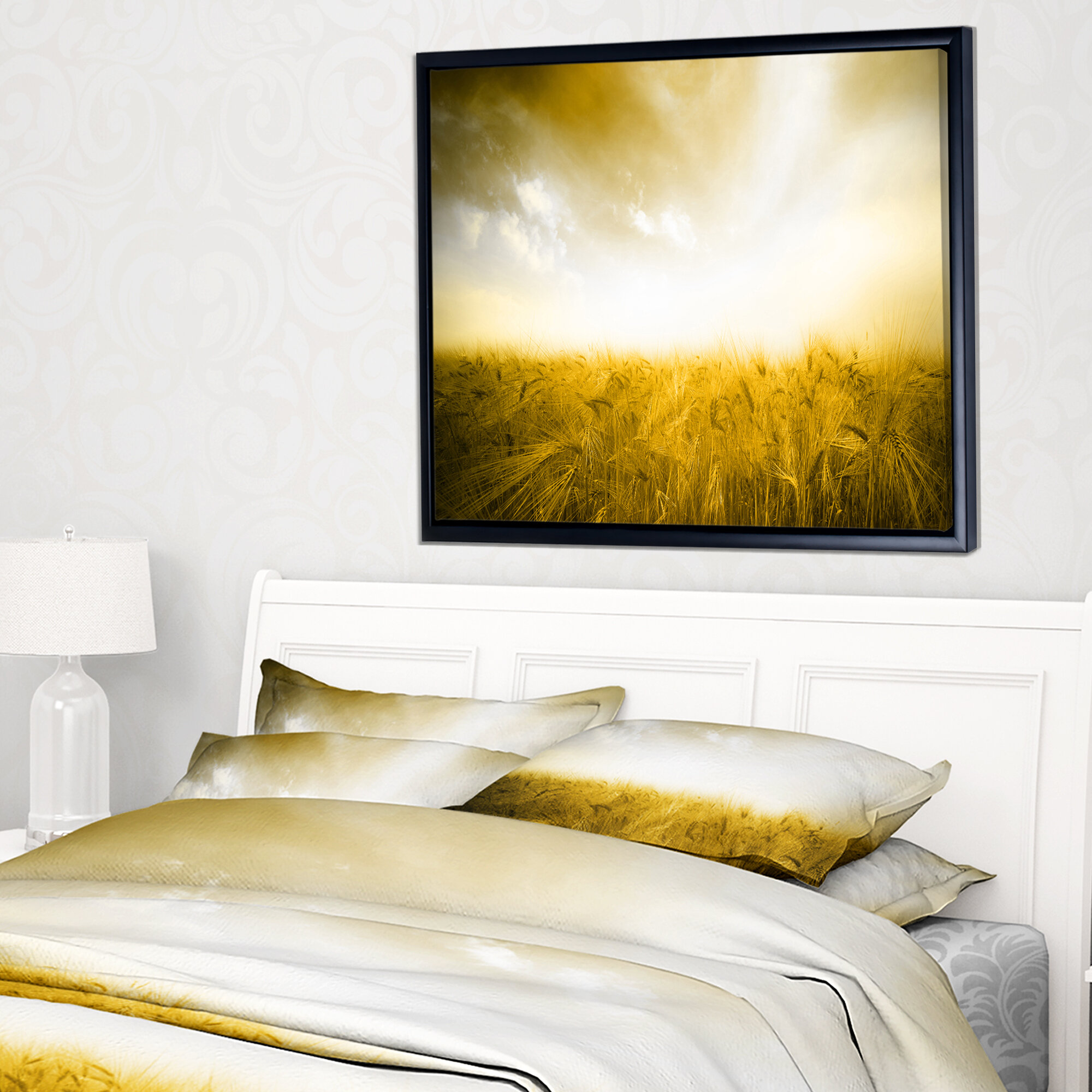East Urban Home \'Yellow Meadow under Bright Sun\' Framed Photographic ...