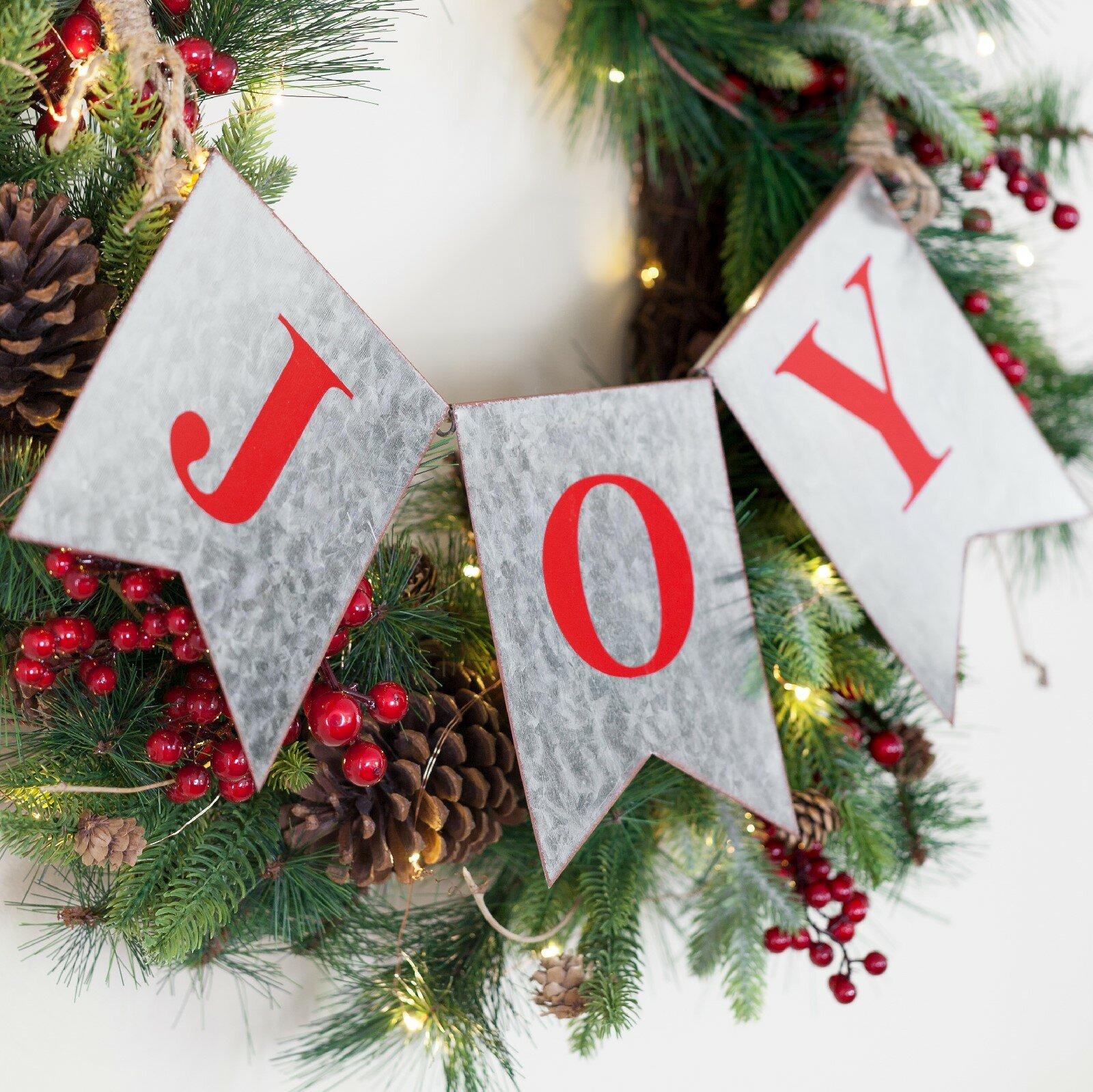 Galvanized Joy Christmas Garland Banner