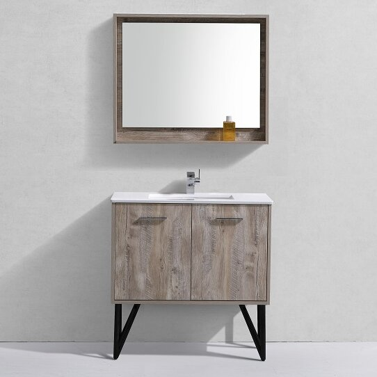 "Rustic Bathroom Vanity Set: Union Rustic Ellison Nature Wood 36"" Single Bathroom"