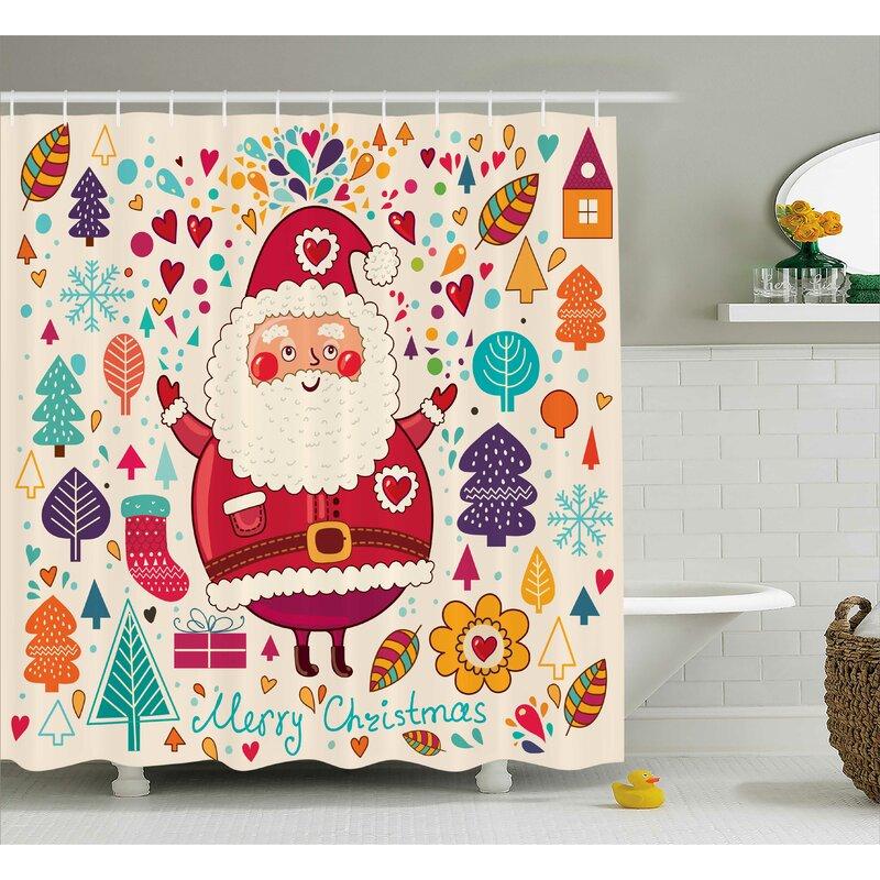 Makenzie Vintage Santa Artsy Shower Curtain