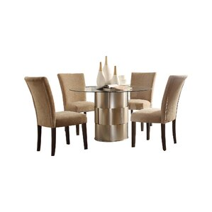 Cliburn 5 Piece Dining Set in Light Brown Upholstery by House of Hampton