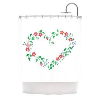 69 by 70 Kess InHouse Nick Nareshni Rustic Flowers Beige Brown Shower Curtain