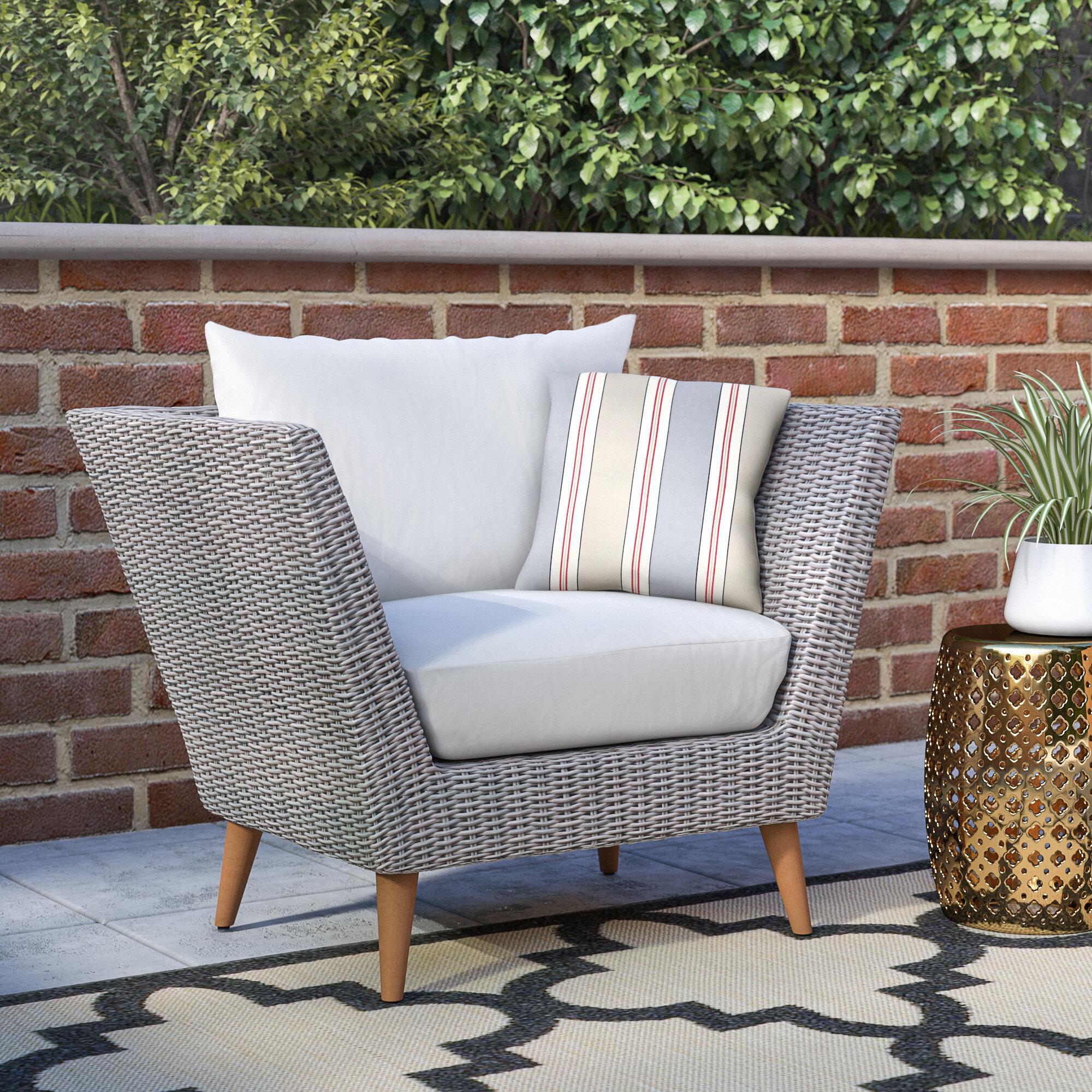 Langley street newbury eucalyptus patio arm chair with cushions reviews wayfair