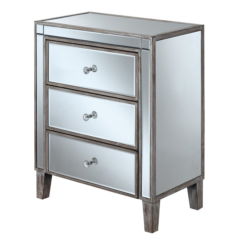 Charmant Claybrooks Large 3 Drawer Mirrored End Table With Storage