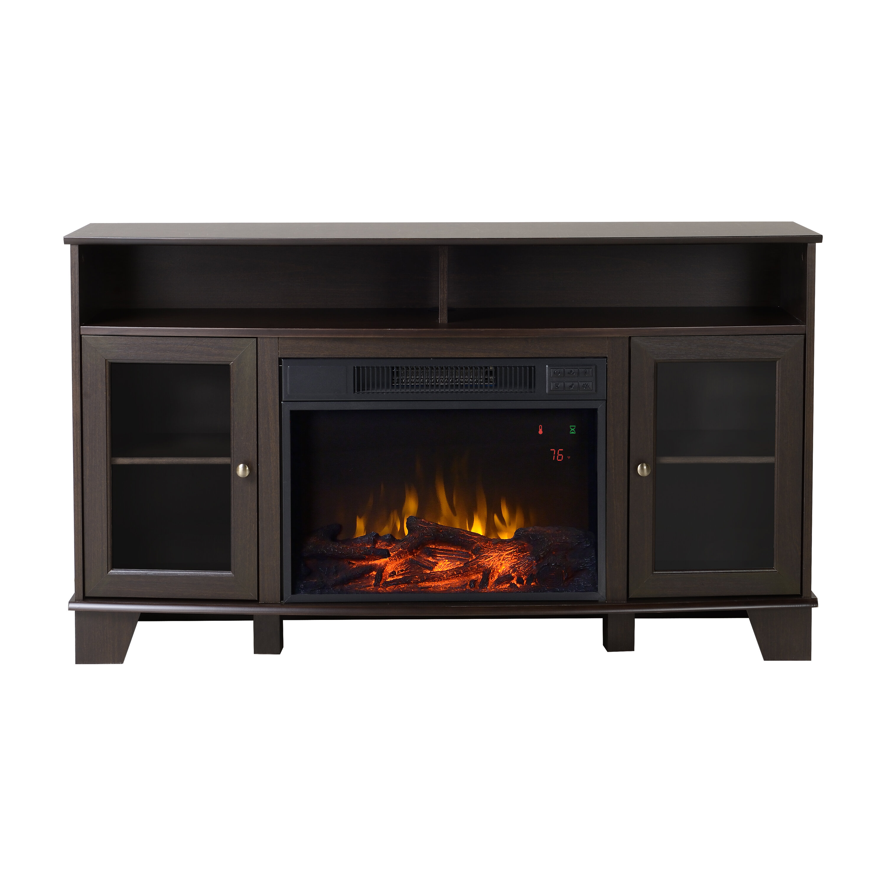 electric infrared pd mdf with mantel espresso w remote control media duraflame thermostat fireplace quartz btu shop in