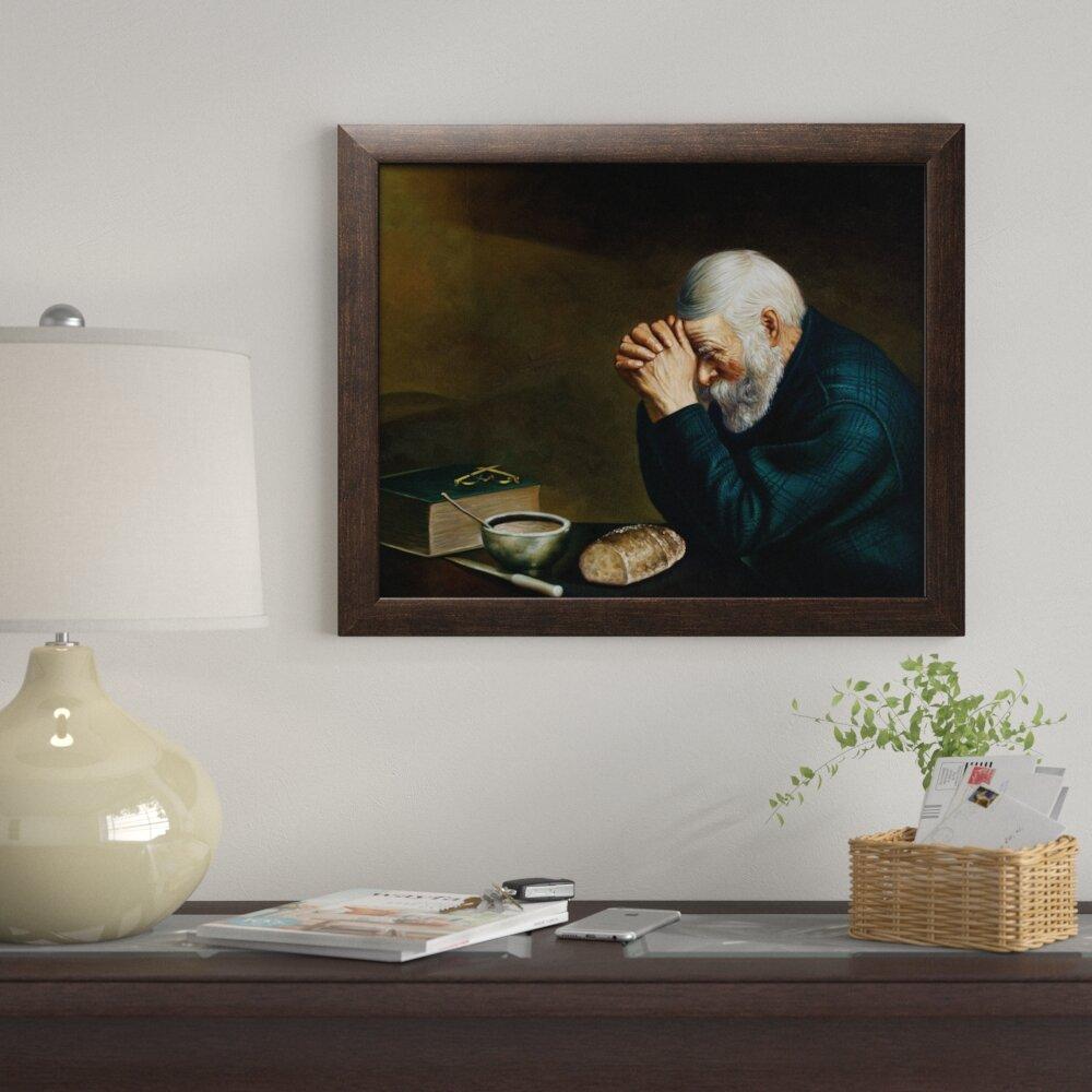 Red Barrel Studio U0027Daily Bread Man Praying At Dinner Table Grace Religiousu0027  Framed Acrylic Painting Print U0026 Reviews   Wayfair