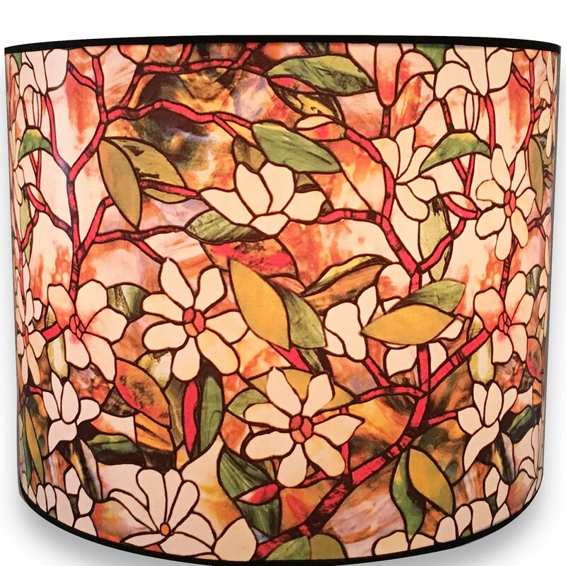 Royaldesigns magnolia stained glass printed designer hard back 10 magnolia stained glass printed designer hard back 10 paper drum lamp shade aloadofball Image collections
