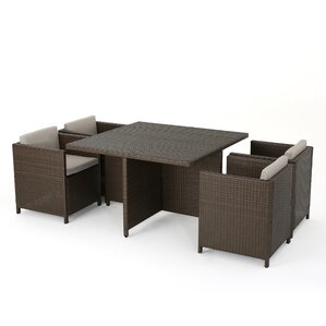 Bashir Outdoor Wicker 5 Piece Dining Set With Cushions (Set Of 5)