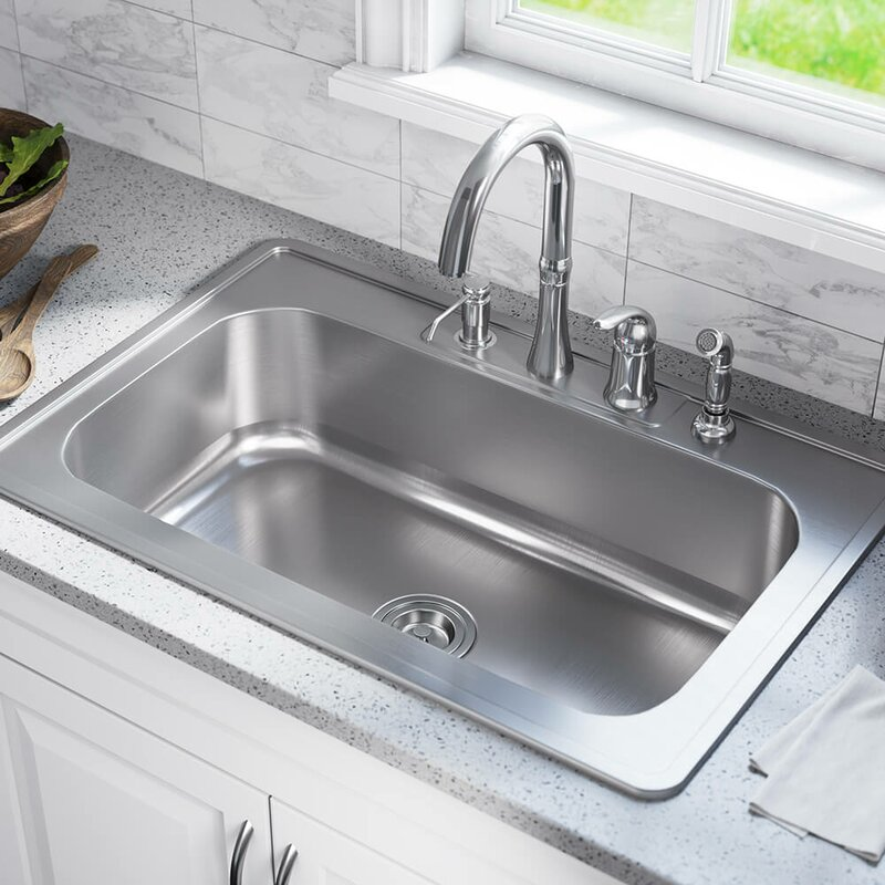 Amazing Stainless Steel 33 X 22 Drop In Kitchen Sink Complete Home Design Collection Lindsey Bellcom