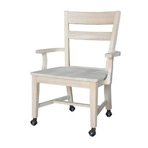 Desk Arm Solid Wood Dining Chair by International Concepts
