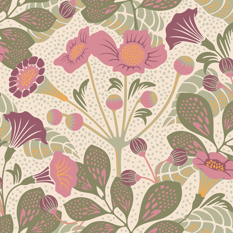 """Wonderland Tropisk Floral 33' x 21"""" Wallpaper Roll"""