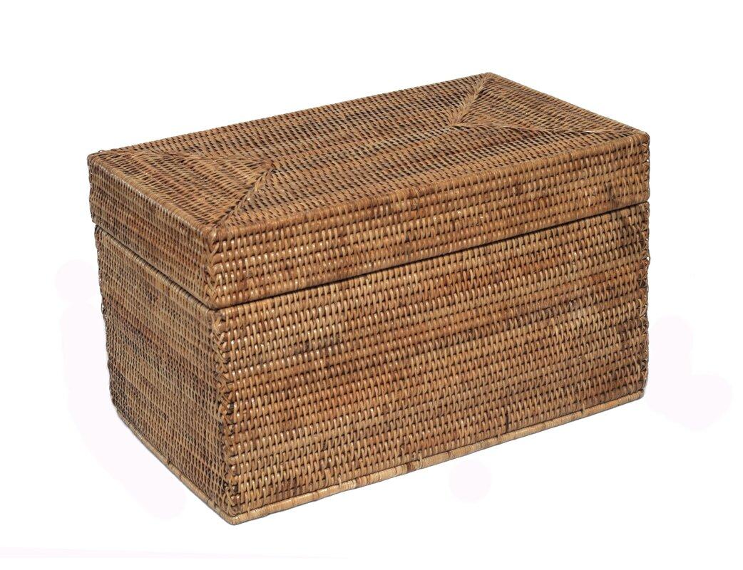 rattan small rectangular hinged trunk
