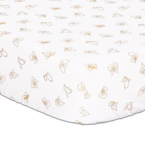 Gold Butterfly Fitted Crib Sheet