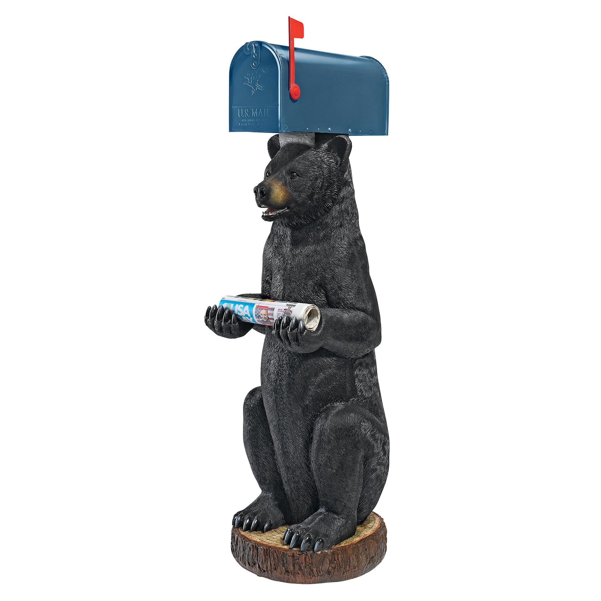 design toscano postal bear sleeve statue post mounted mailbox