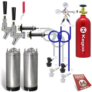 Two Faucet Door Mount Homebrew Kegerator Kit – Two Ball Lock Kegs & 5 lb. CO2 Tank
