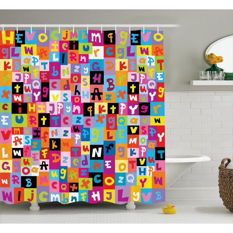 Zoomie Kids Luther Colored Alphabet Puzzle Shower Curtain | Wayfair