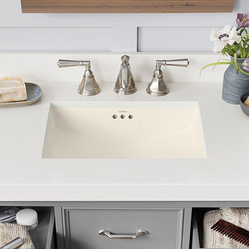 Plane ceramic rectangular undermount bathroom sink with for 30 undermount bathroom sink