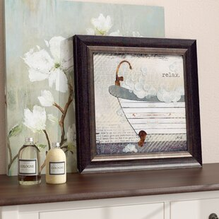 Delicieux U0027Relax Texture Coated Bathroomu0027 Framed Graphic Art Print