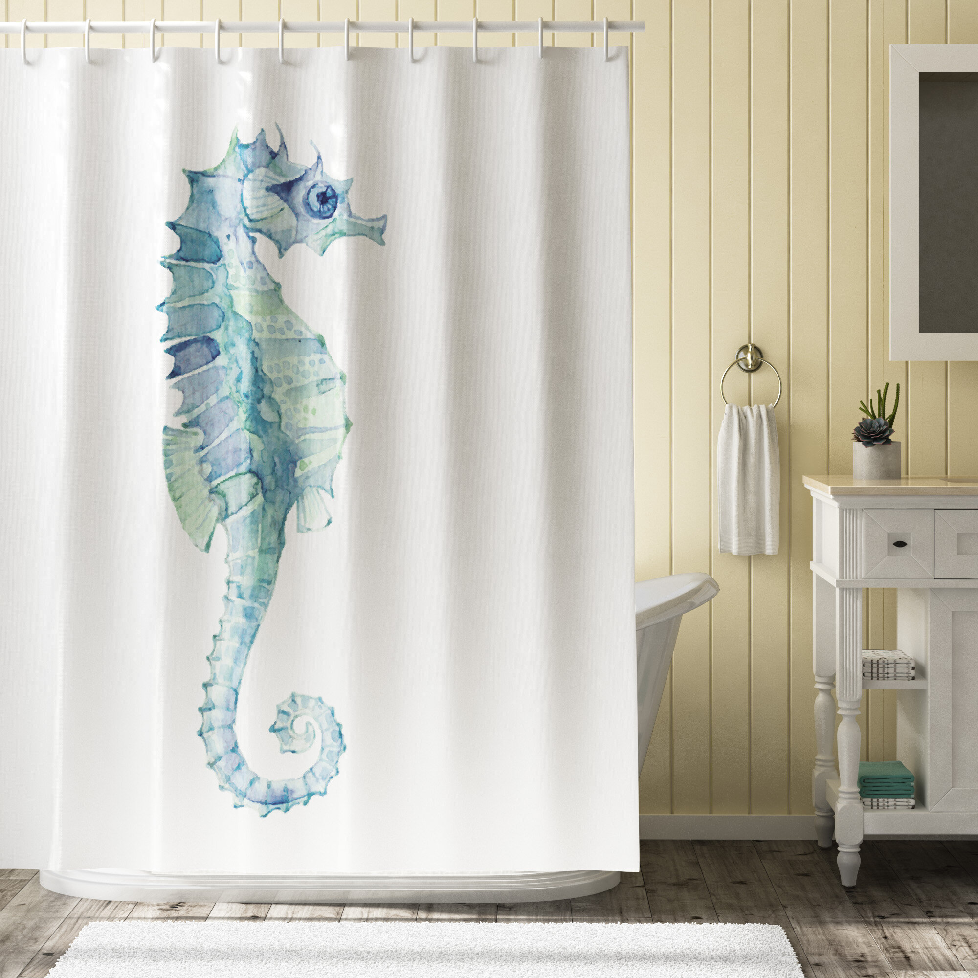 Highland Dunes Roxanna Painbrush Photo Seahorse Single Shower Curtain Reviews
