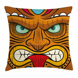 Ambesonne Tiki Bar Decor Vintage Sign Square Pillow Cover