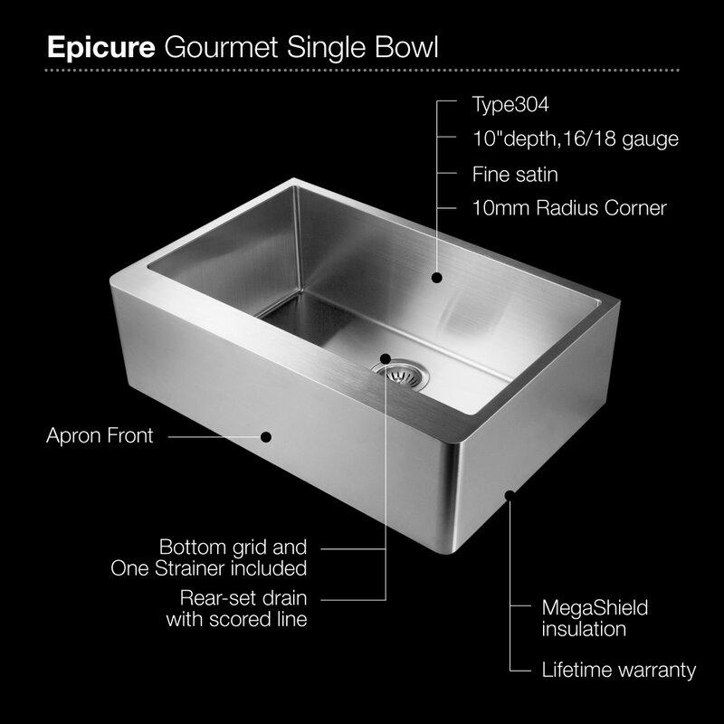 epicure 33   x 20   series gourmet single bowl apron front kitchen sink houzer epicure 33   x 20   series gourmet single bowl apron front      rh   wayfair com