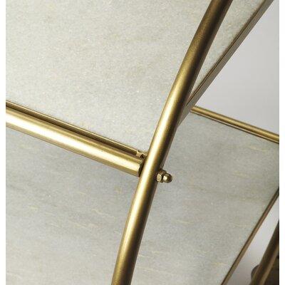 Brayden Studio Adkins Marble and Metal Bar Cart Color: Gold/White