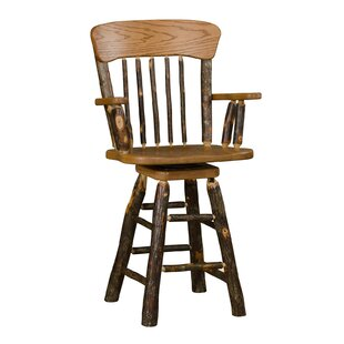 Tulare 24 Swivel Panel Back Bar Stool with Arms