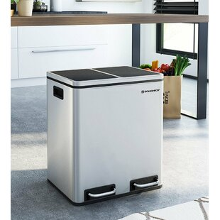 Gentil Kitchen Stainless Steel 30 Litre Step On Multi Compartments Rubbish And Recycle  Bin