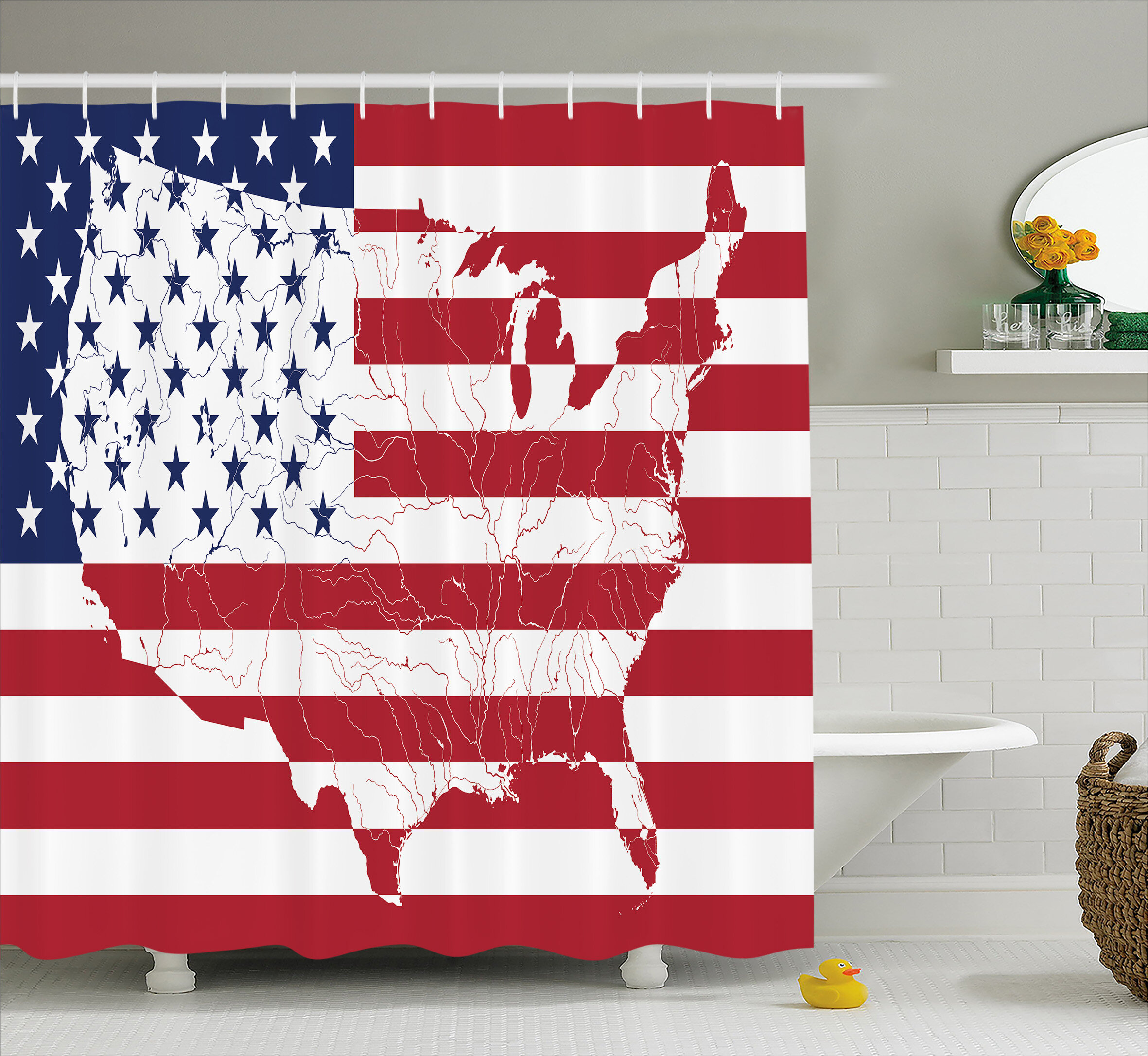 East urban home stars and stripes decor shower curtain Stars and stripes home decor