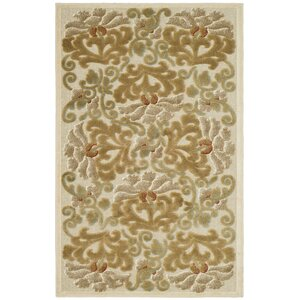 Floating Dahlia Tufted-Hand-Loomed Beige/Brown Area Rug