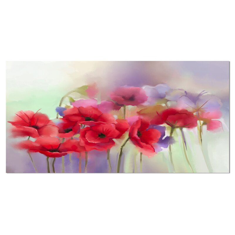 Designart Watercolor Red Poppy Flowers Painting Painting Print On