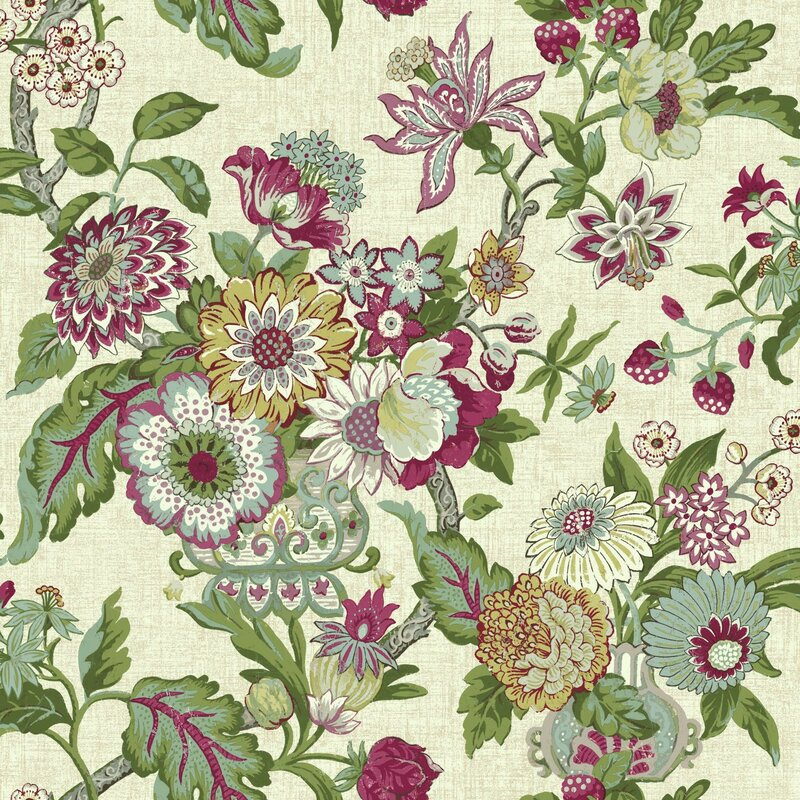 Waverly Global Chic 33 X 205 Floral And Botanical Wallpaper Roll