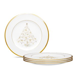 palace christmas gold 85 holiday accent plates set of 4 - Christmas Plates