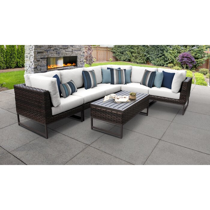 TK Classics Barcelona 7 Piece Sectional Seating Group with ...