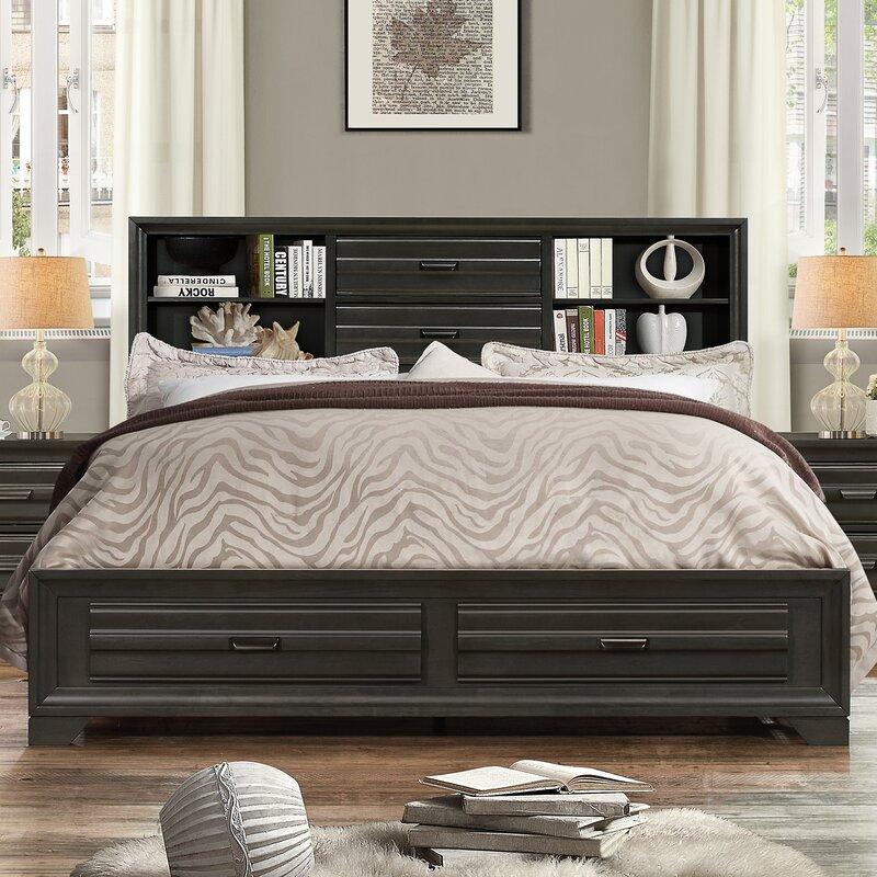 Loiret Wood Storage Platform Bed & Roundhill Furniture Loiret Wood Storage Platform Bed u0026 Reviews | Wayfair
