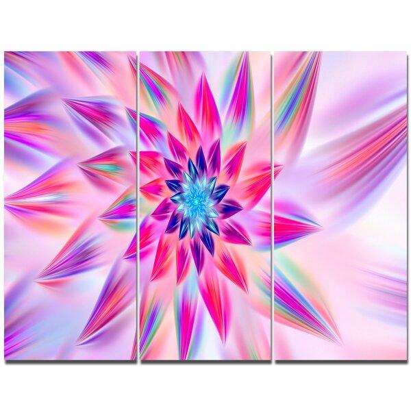 Designart huge pink blue fractal flower graphic art print multi designart huge pink blue fractal flower graphic art print multi piece image on canvas wayfair mightylinksfo