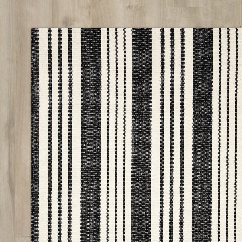 Woven Birmingham Hand Cotton Black Area Rug