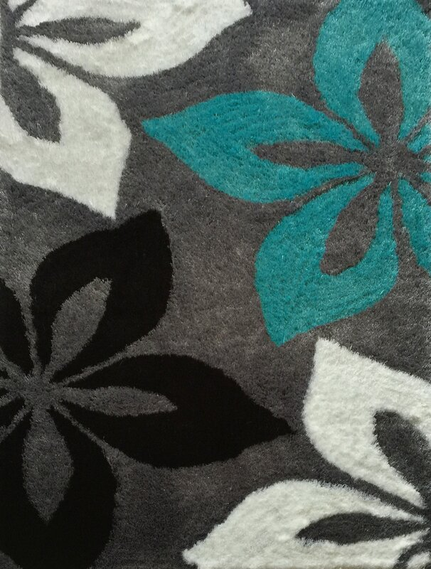 Lola Hand Tufted Gray Turquoise Area Rug