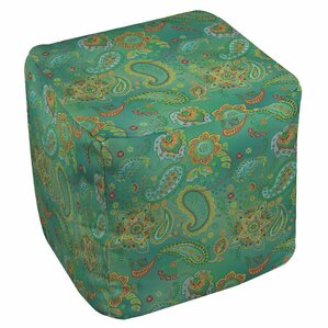 Aqua Bloom Paisley Ottoman by Manual Woodwor..