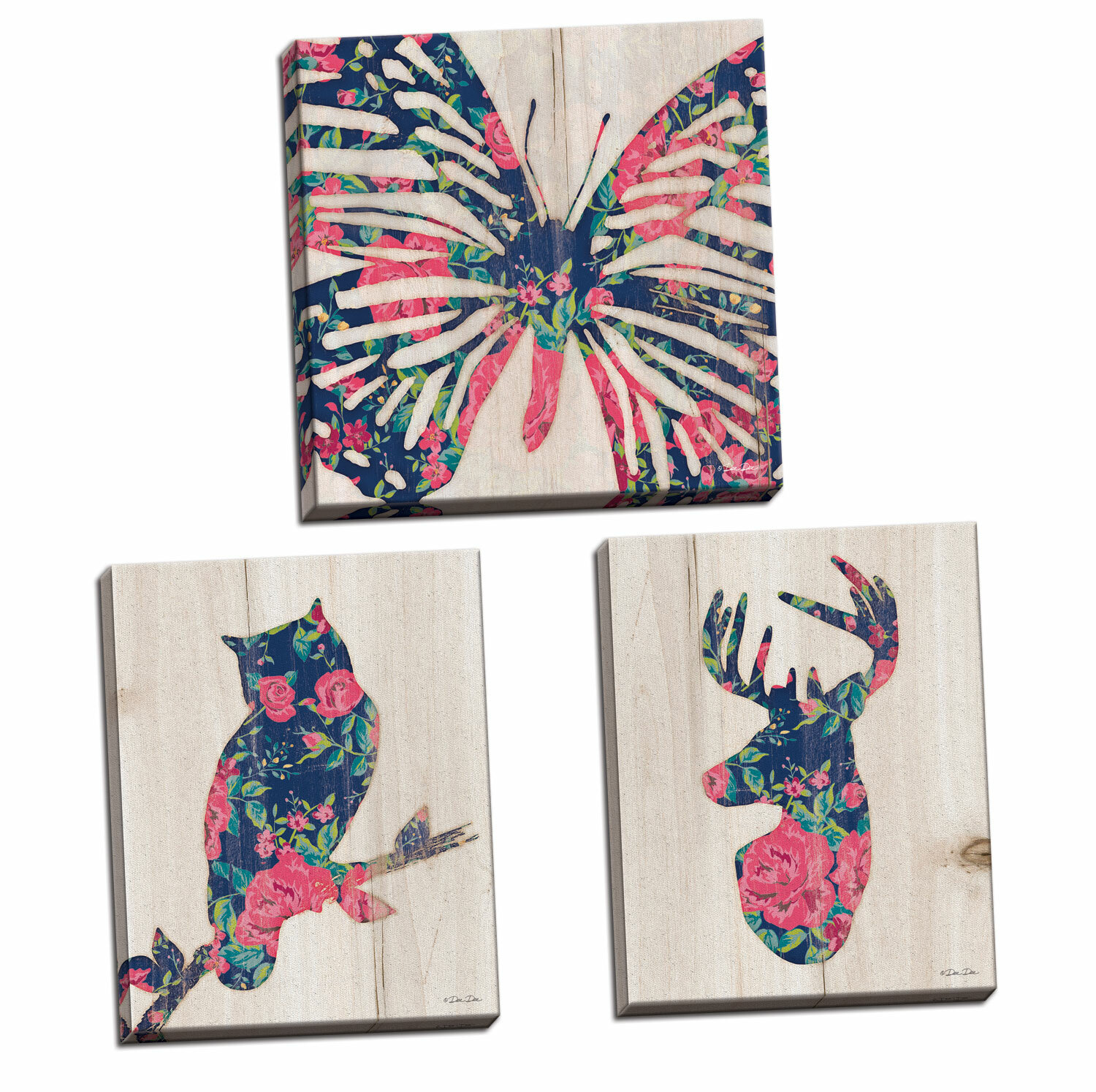 August Grove 'Floral Butterfly Floral Deer And Floral Owl