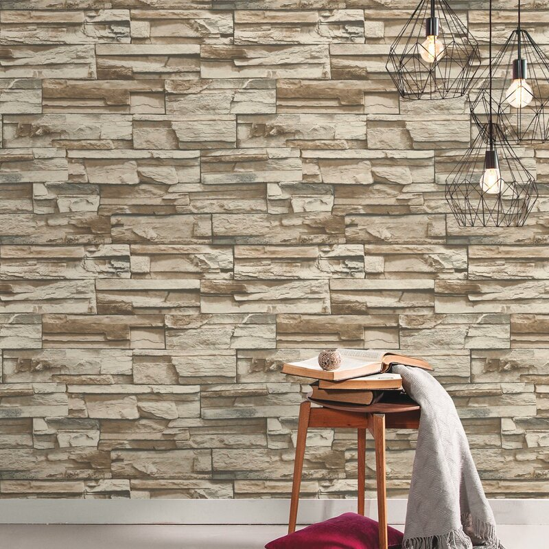 Coleen Stacked Stone 16 5 L X 20 W Brick And Stick Wallpaper Roll