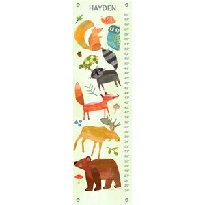 Textured Woodland Animals by Amy Schimler-Safford Personalized Canvas Growth Chart
