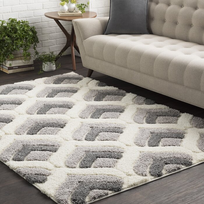 Quincy Soft Patterned Shag White/Grey Area Rug