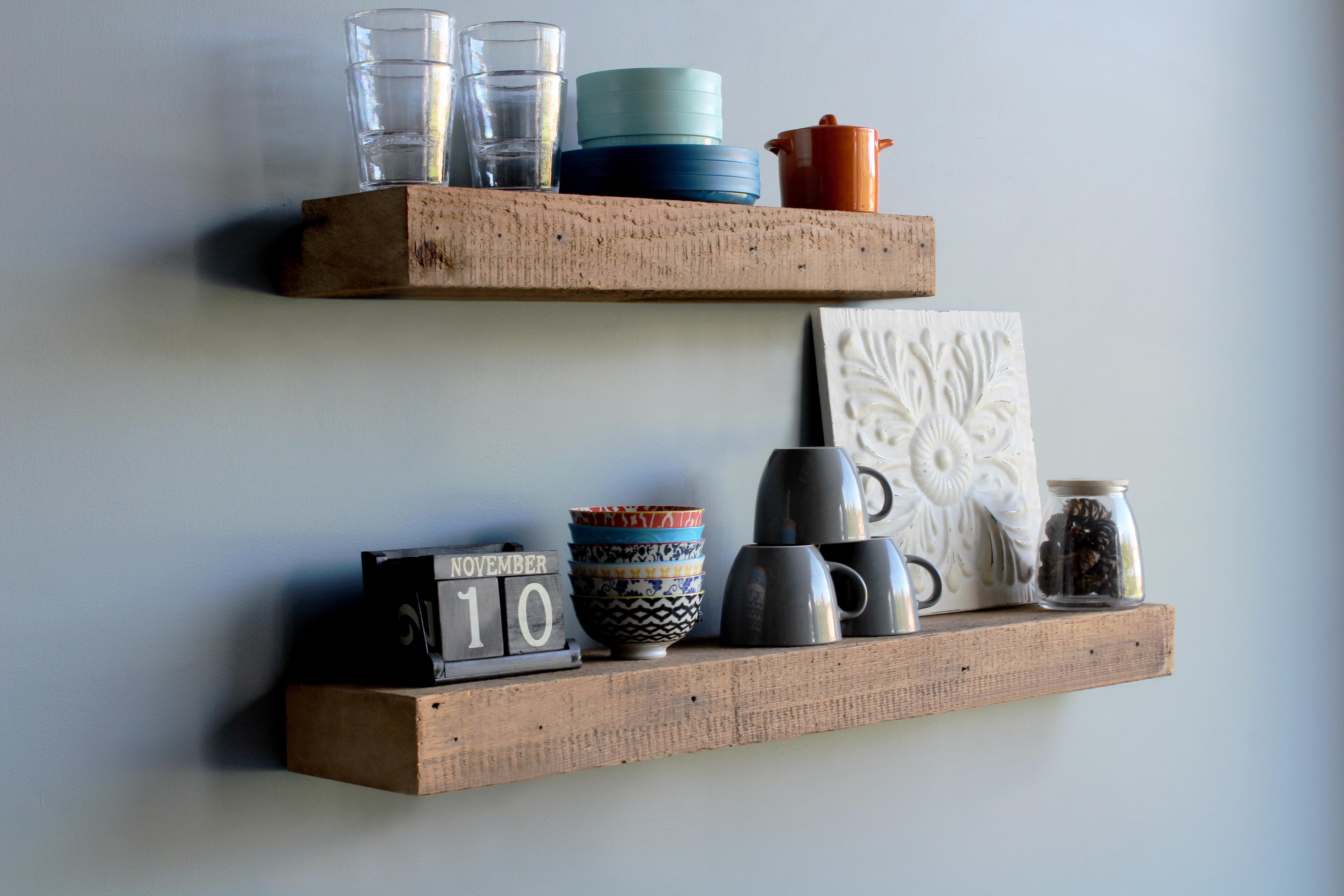 Superb Corda Reclaimed Barn Wood Floating 2 Piece Wall Shelf Set Download Free Architecture Designs Rallybritishbridgeorg