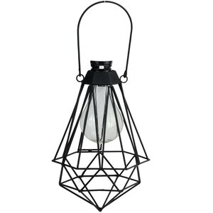 Audrey Geometric Solar Powered 1-Light Outdoor LED Hanging Lantern