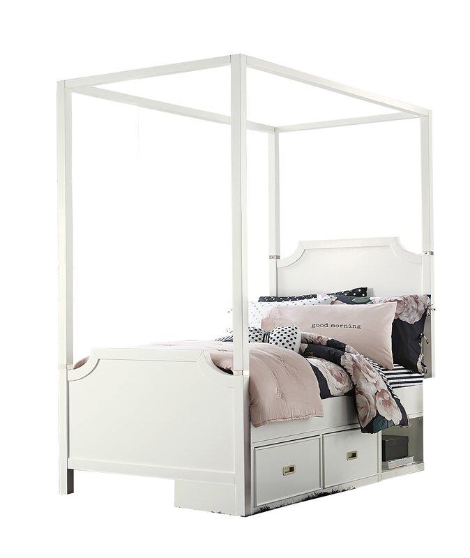 Jereme Canopy Panel Bed with Storage Drawer Unit Soft White  sc 1 st  Wayfair & Harriet Bee Jereme Canopy Panel Bed with Storage Drawer Unit Soft ...